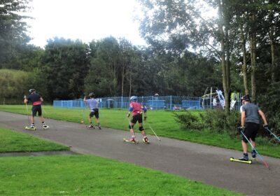 Roller ski coaching day at Hetton nr Durham
